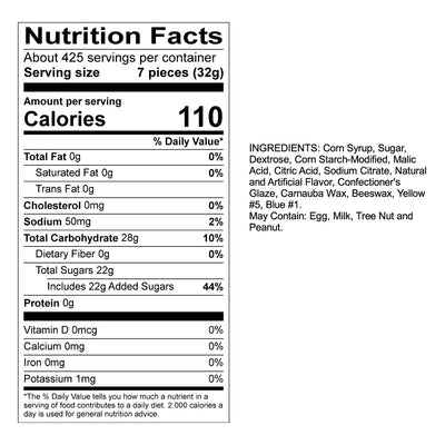 Apple Fruit Sours Nutrition Panel & Ingredients