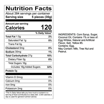 Banana Taffy Nutrition Panel & Ingredients