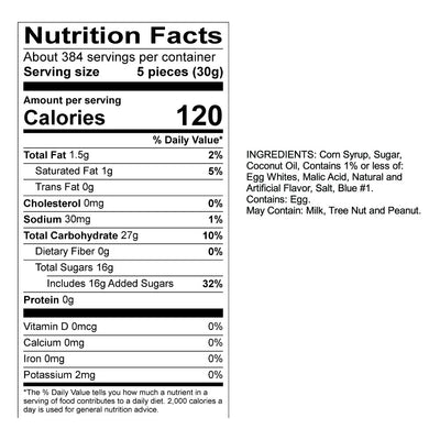 Blue Raspberry Taffy Nutrition Panel & Ingredients