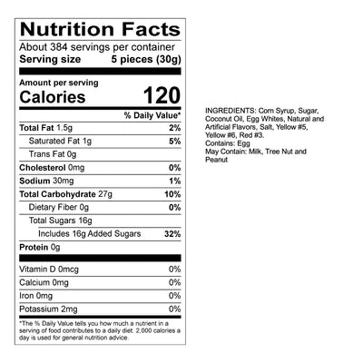 Candy Corn Taffy Nutrition Panel & Ingredients
