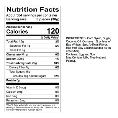 Cinnamon Taffy Nutrition Panel & Ingredients