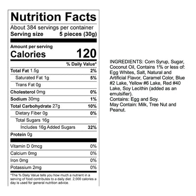 Black Licorice Taffy Nutrition Panel & Ingredients