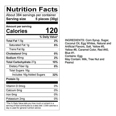 S'mores Taffy Nutrition Panel & Ingredients