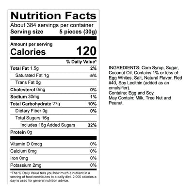 Peppermint Taffy Nutrition Panel & Ingredients