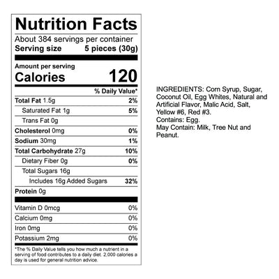Peach Taffy Nutrition Panel & Ingredients