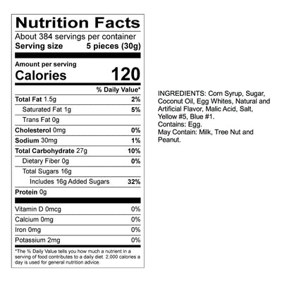 Pineapple Taffy Nutrition Panel & Ingredients