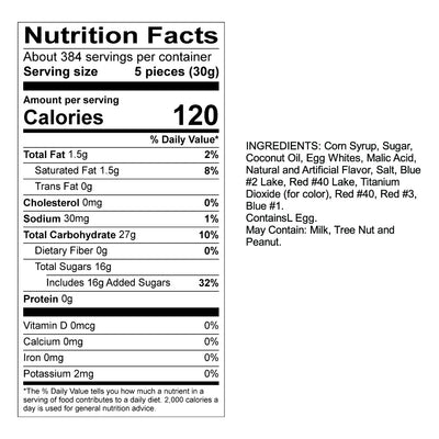 Boysenberry Taffy Nutrition Panel & Ingredients