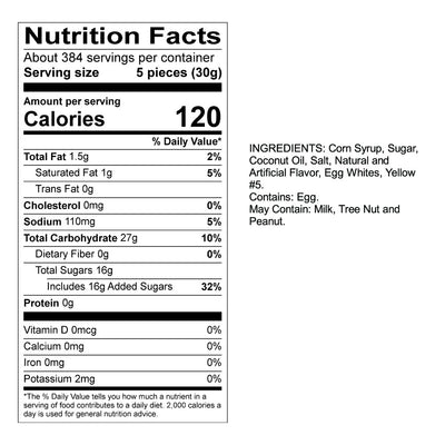Buttered Popcorn Taffy Nutrition Panel & Ingredients
