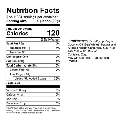 Guava Taffy Nutrition Panel & Ingredients
