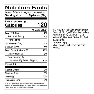 Mango Taffy Nutrition Panel & Ingredients