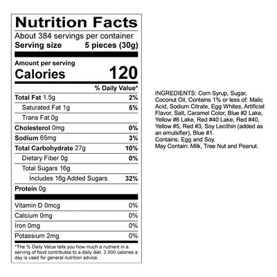 Watermelon Taffy Nutrition Panel & Ingredients