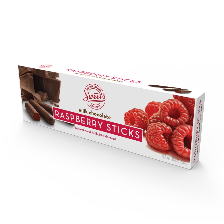 Milk Chocolate Raspberry Sticks, Pack of 12