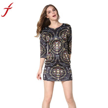 Hot  Floral Printed Dress 2016 Fashion Women Black Dress Evening Party Beach Dress Large size Elegant Ladies Women Dresses #LSIN