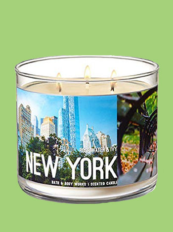 New York Rose Water & Ivy 3 Wick Candle