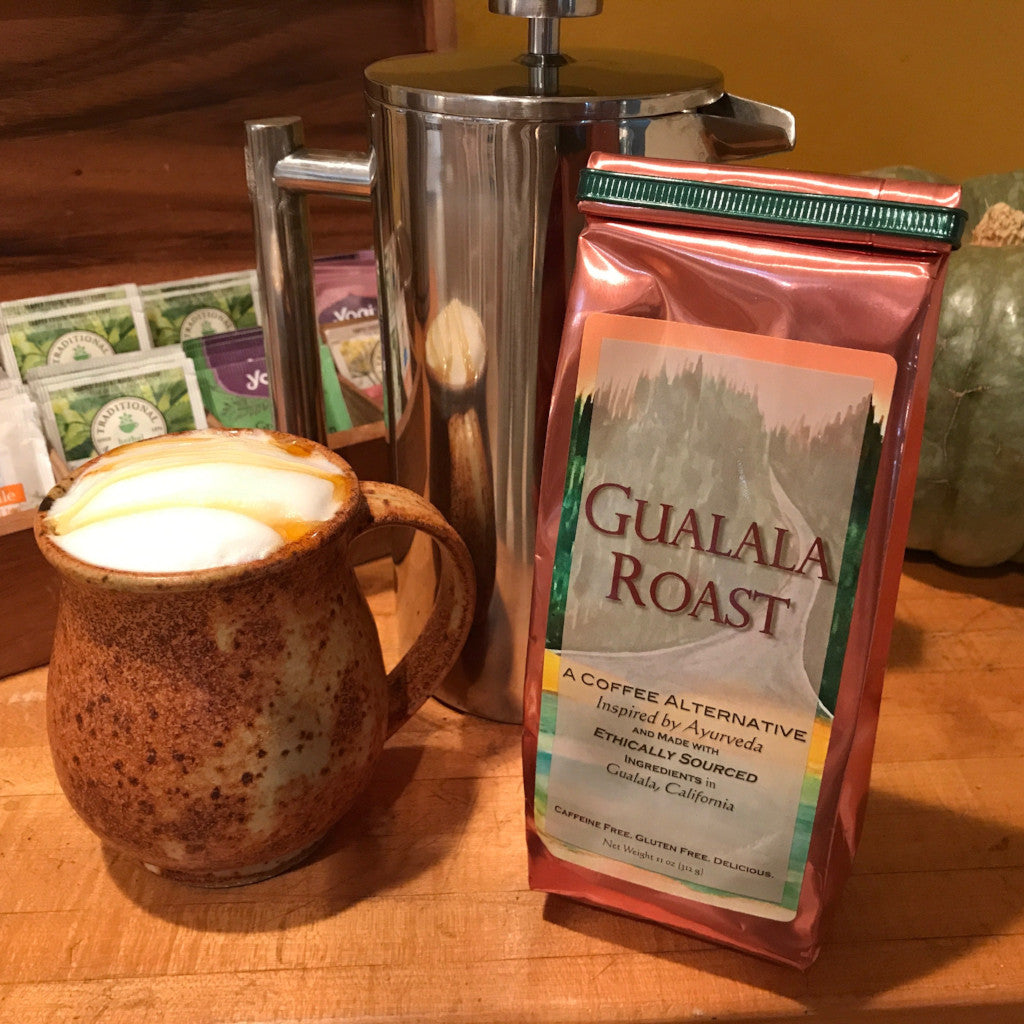 Gualala Roast Coffee Substitute, French Press, Homemade Latte, Herbal Ingredients