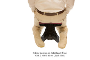 Sitting in kneeling position (back view) while using SalatBuddy Contemporary Prayer and Poster Stool with 2 Multi-Risers