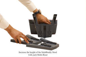 Stabilize the SalatBuddy Stool on the ground to assist in inserting the Multi-Riser