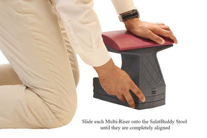 Multi-Risers should align completely with the SalatBuddy Stool to prevent accidental sliding off