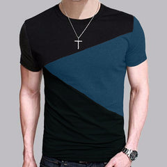 Men's Multi-color Form Fit Intricate Diagonal Design T Shirt - China