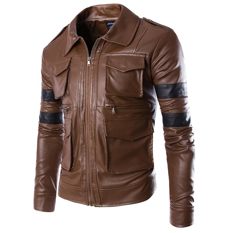 Leather Jacket Men Coat Multi-pocket Design Men Zipper Motorcycle - China