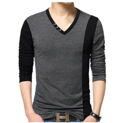 Men's Bigger Sizing Vertical Stripe Spring/Autumn V Neck T Shirt - China