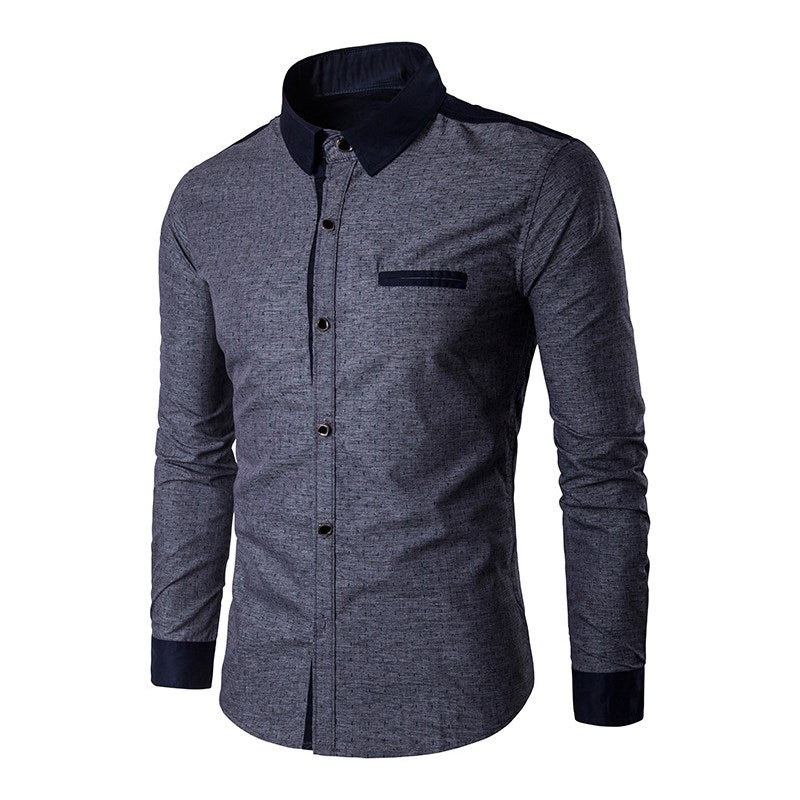 Men's Long Sleeve Button Down Classy Dress  - China