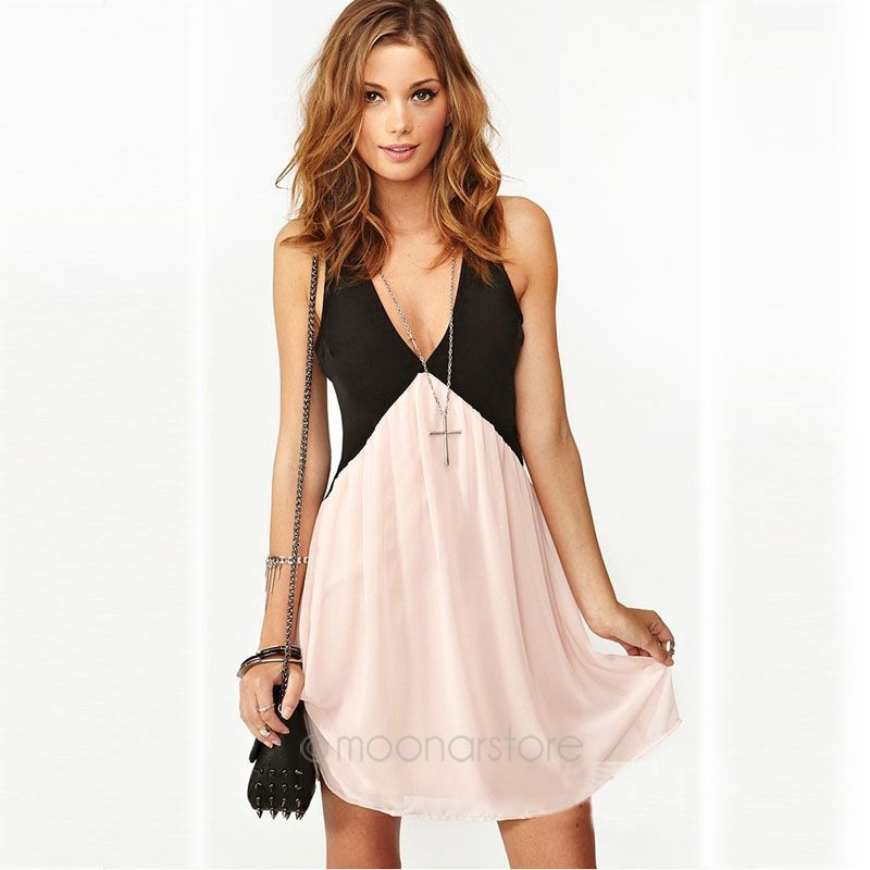 Women Fashion Work WearV-neck Party Chiffon Dress - China