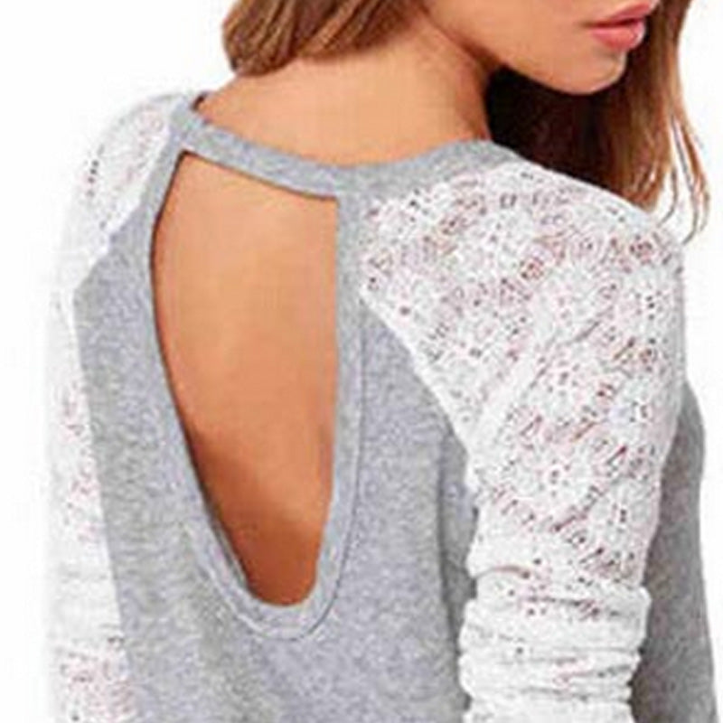 Women's Grey Open-Back Long-Sleeve Fashionable Lacey T Shirt - China
