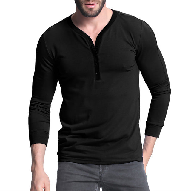 Light and Comfy Simple Button V Neck T Shirt - China