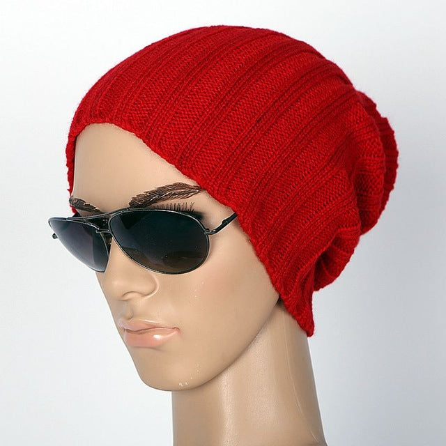 Solid Colored Warm Knitted Beanie - US