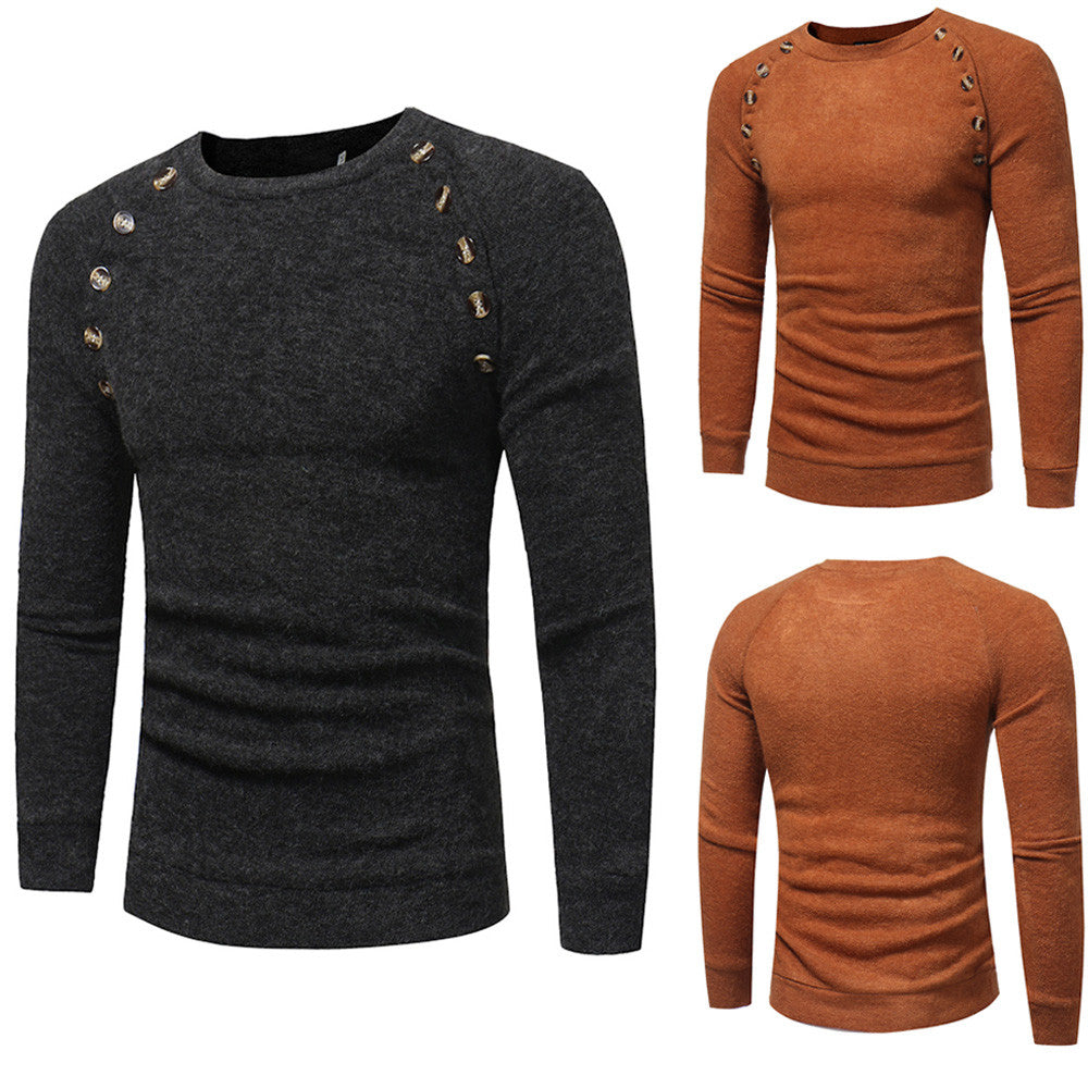 Mens Solid Color Pullover Sweater - US