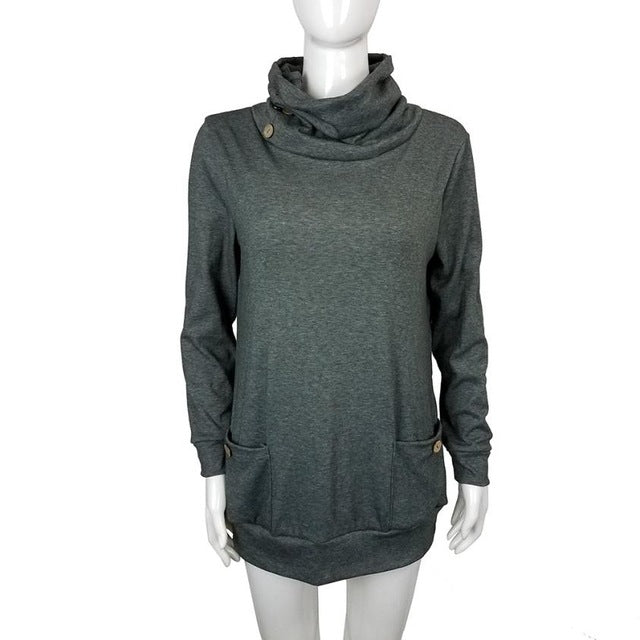 Women's Long Sleeve Button Cowl Neck Tunic Top - China