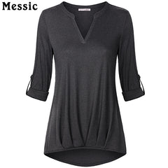 Women's Messic Casual Rolled Up long Sleeve Tunic Top - China