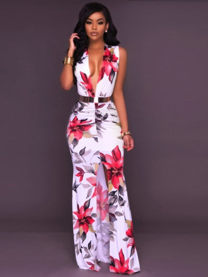 Zipper V-Neck Floral Bodycon Women's Maxi Dress - China