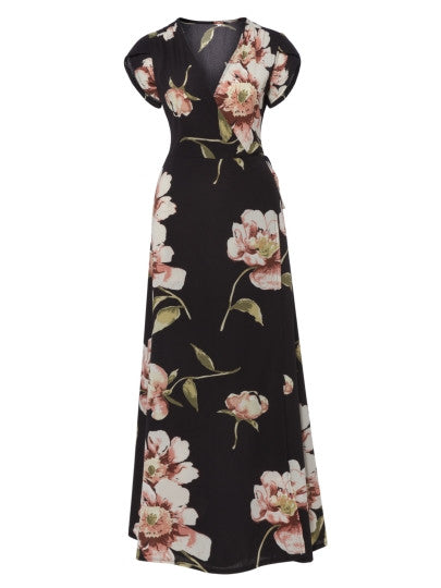 V-Neck Floral Print Women's Maxi Dress - China
