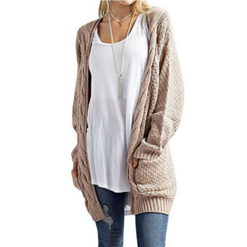 Long Sleeve Pockets Knitted Cardigan - China