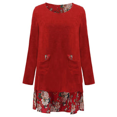 Women's Autumn Vintage Floral Print Mini Dress - China
