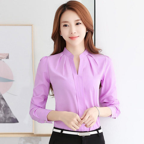Women Long Sleeve Chiffon Blouse V-Neck Work Wear - China