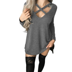 Cross Collar Long Shirt Autumn Sexy Casual Solid Long sleeve - US