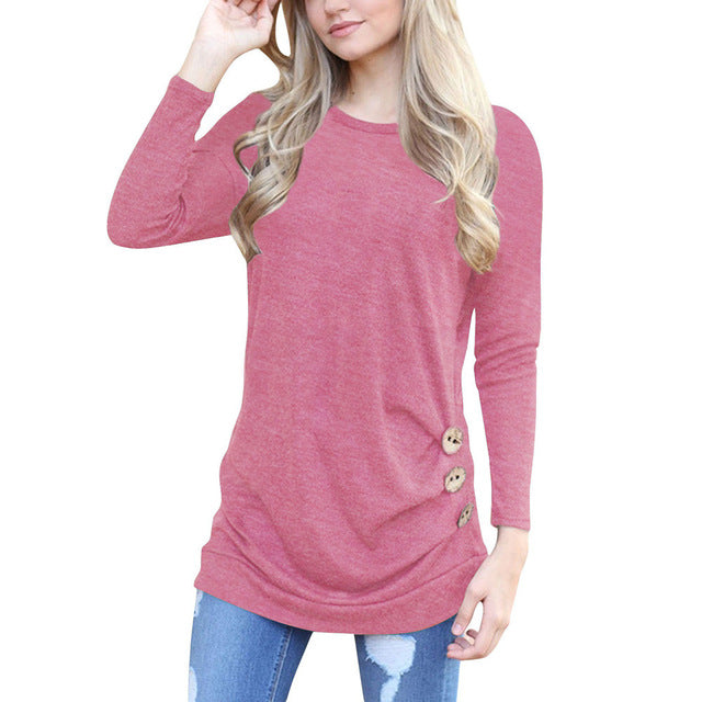 Women Solid Shirt Long Sleeve Botton Tops T-Shirts - China