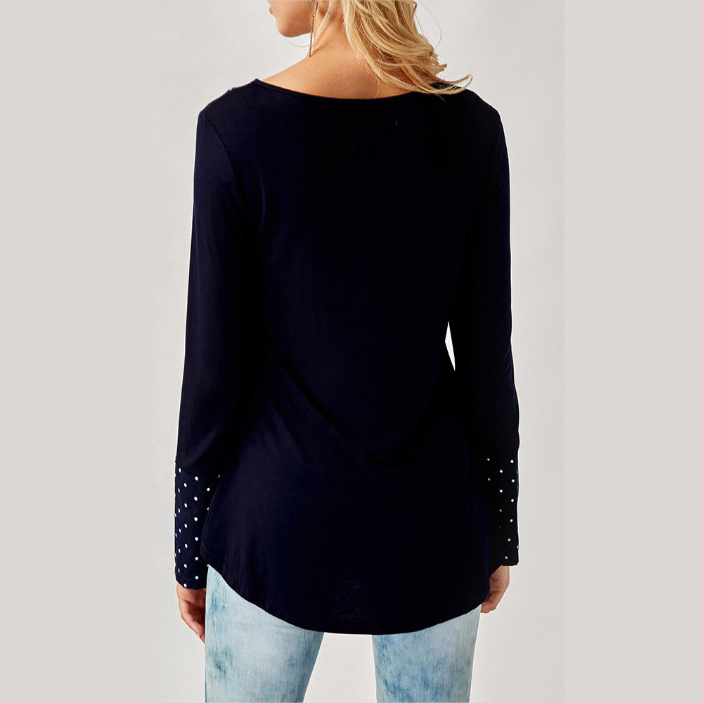 The V Neck Top with the Buttons - US