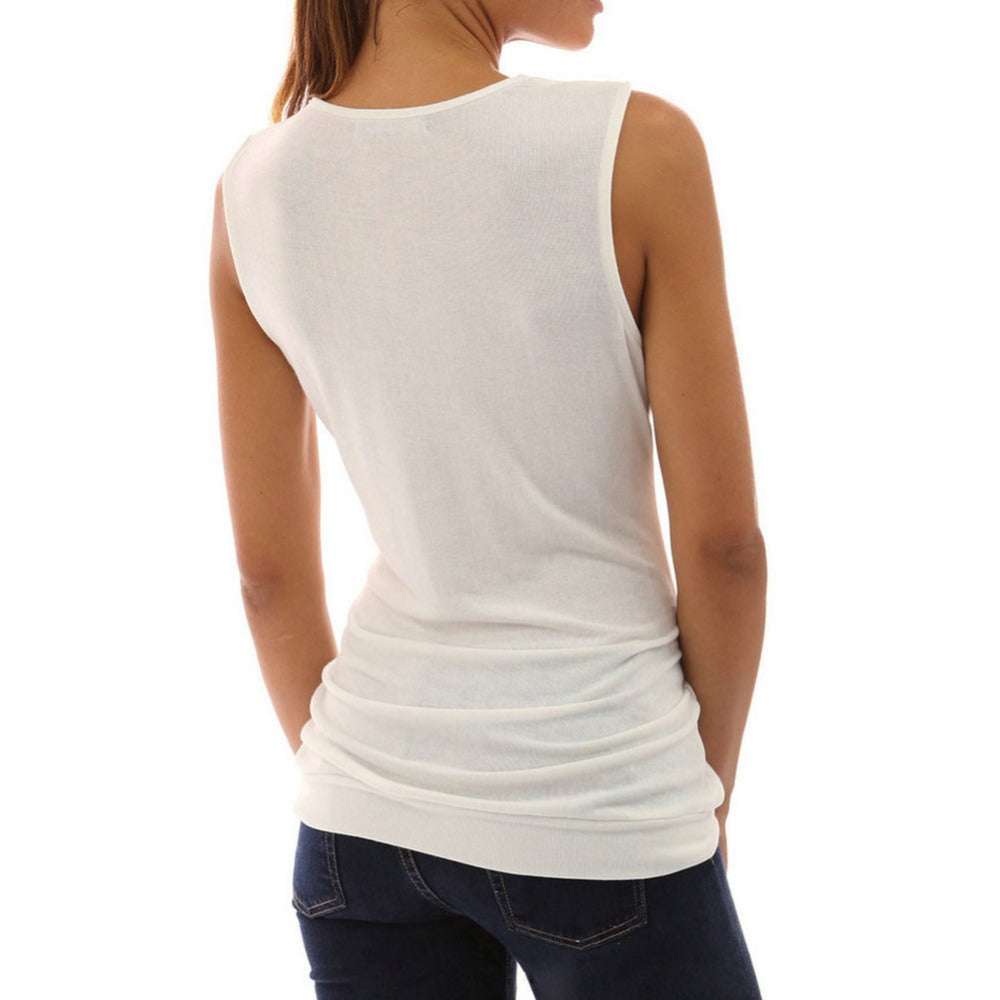 Women's Casual Slim and Sleeveless V Neck Top
