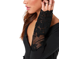 Women's Autumn Causal Spliced Lace Blouse - China