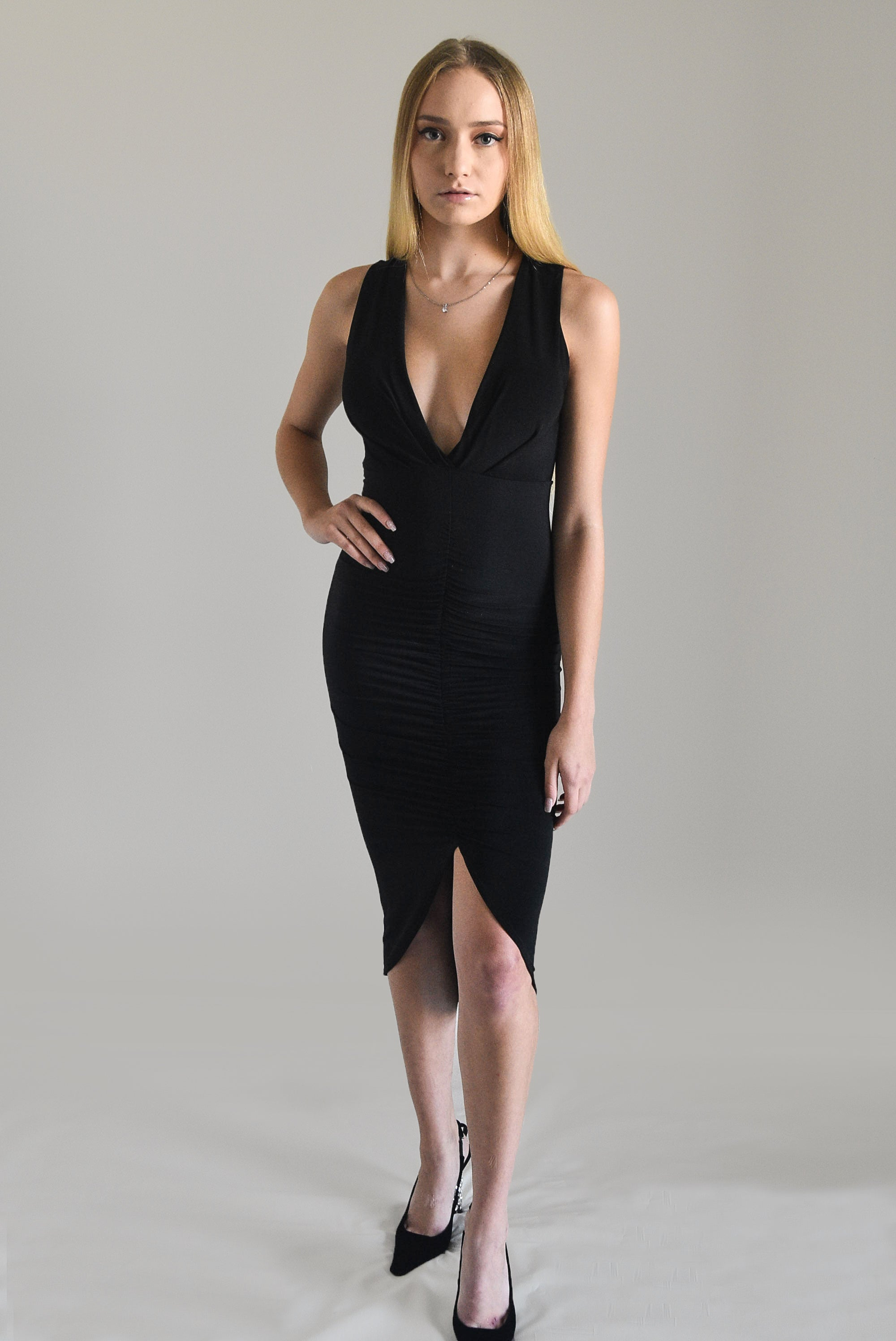 Ruched V-Neck Body Dress