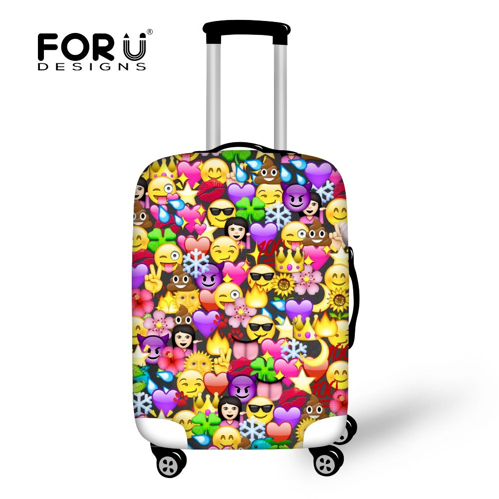 f96782df7 FORUDESIGNS Funny Emoji Protective Covers for Suitcase Travel Luggage Cover  Elastic Stretch to 18''