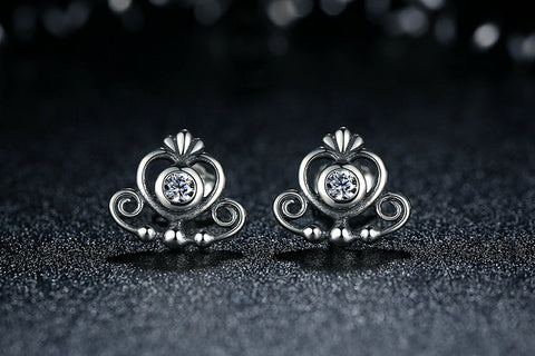 Sterling Silver Princess Tiara Crown Earrings