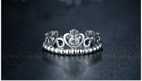 Sterling Silver Princess Queen Crown Ring