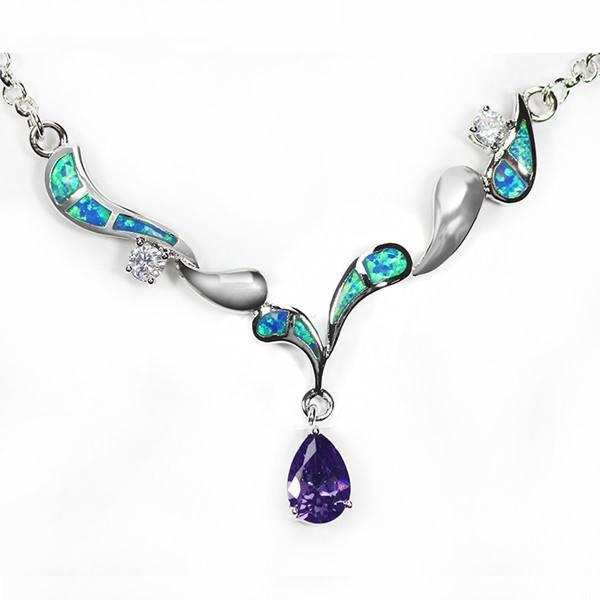 Elegant Blue Opal And Amethyst Necklace