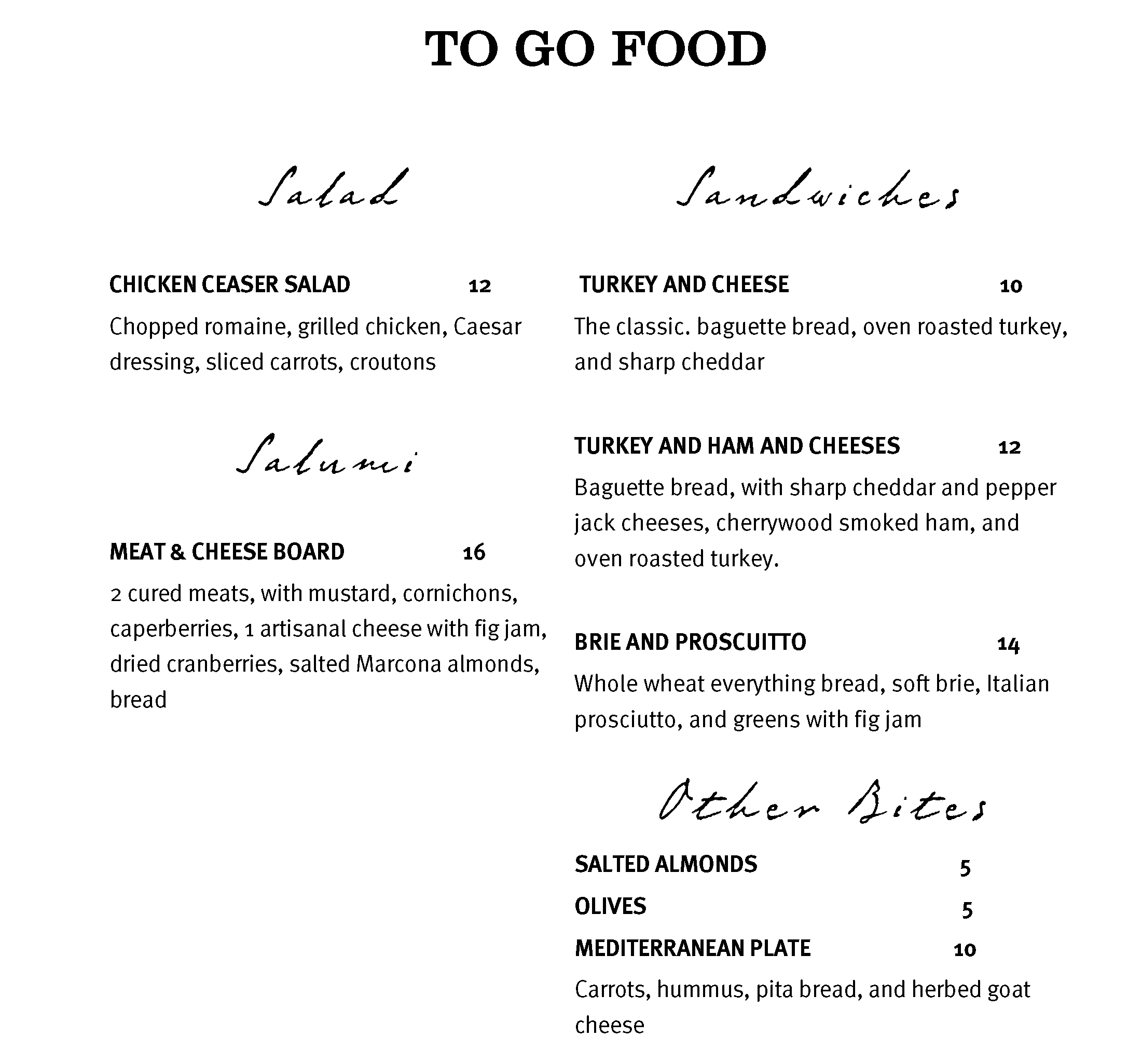 AUS High Plains To Go Menu