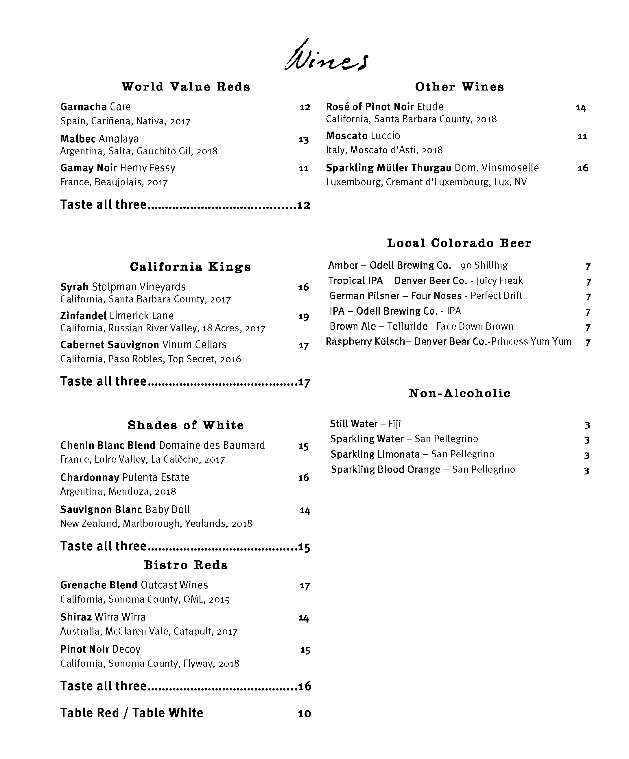 DEN C Wine Menu
